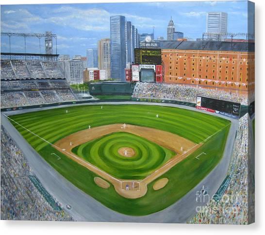 Baltimore Orioles Canvas Print - Camden Yards by Laura Corebello