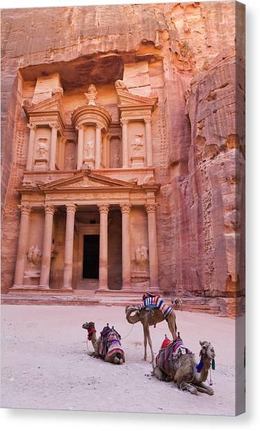 World Heritage Site Canvas Print - Camel At The Facade Of Treasury (al by Keren Su