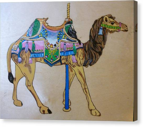 Pigatopia Canvas Print - Camel Carousel Animal Pyrographic Wood Burn Art Original 15.5 X 15.5 Inch Complete With Frame  by Shannon Ivins