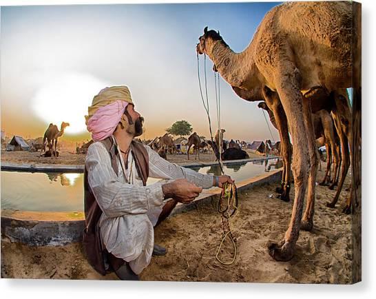 Hinduism Canvas Print - Camel Herder by Louis Kleynhans
