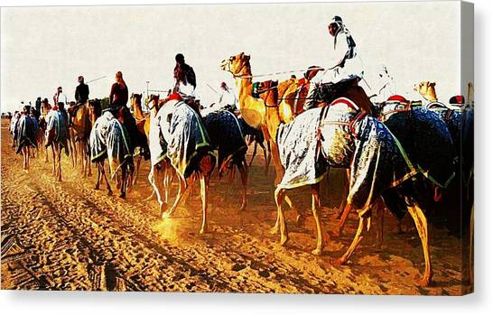 Camel Train Canvas Print by Peter Waters