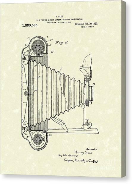 Vintage Camera Canvas Print - Camera 1920 Patent Art by Prior Art Design