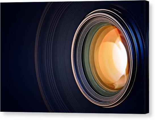 Equipment Canvas Print - Camera Lens Background by Johan Swanepoel