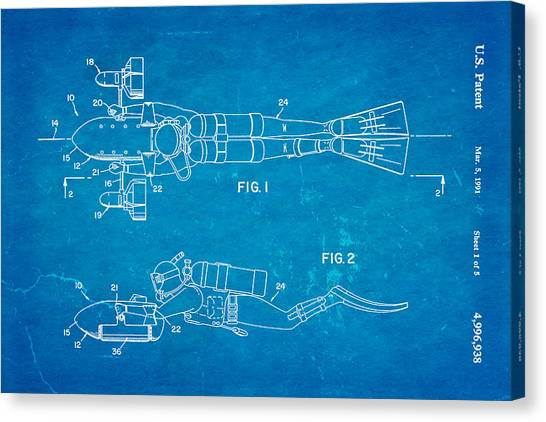 Underwater Caves Canvas Print - Cameron Underwater Dolly System Patent Art 1991 Blueprint by Ian Monk