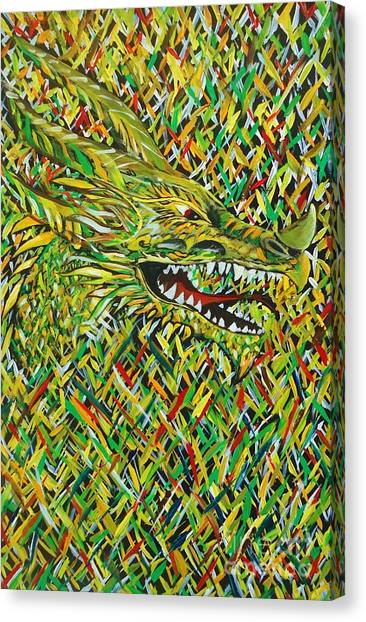 Camo Dragon Canvas Print by Michael Henzel