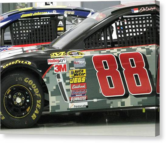 Stock Cars Canvas Print - Camo by Mike Hartman