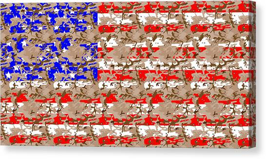 Blue Camo Canvas Print - Camo Us Flag by Ron Hedges