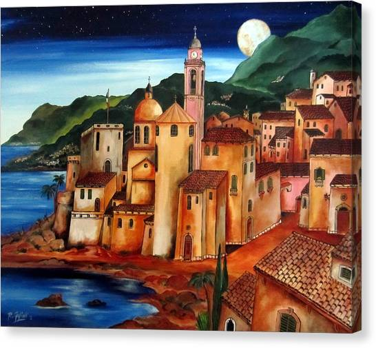 Camogli Under The Moon Canvas Print