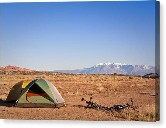 Camping In The Desert Canvas Print