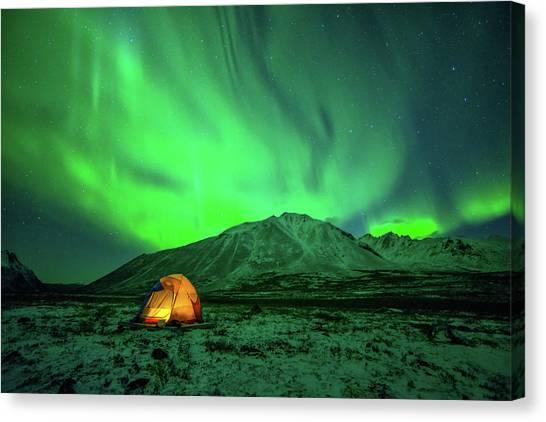 Camping Under Northern Lights Canvas Print by Piriya Photography