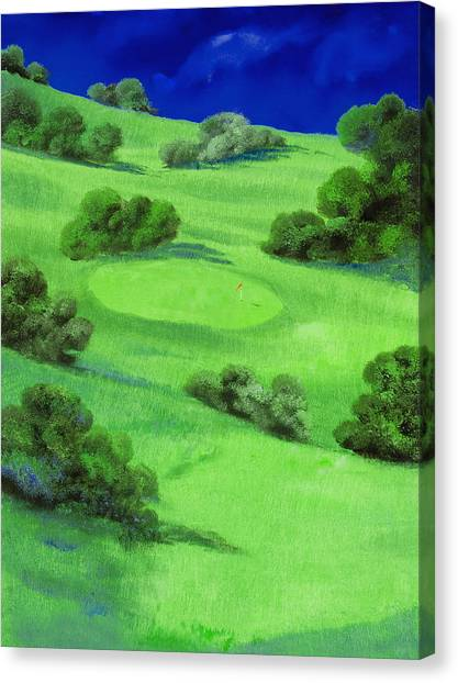 Golf Canvas Print - Campo Da Golf Di Notte by Guido Borelli