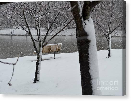 George Mason University Mason Canvas Print - Campus Park In The Winter by Melissa Thayer