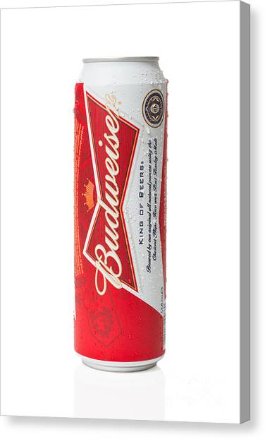 Lager Canvas Print - Can Of Budweiser Beer by Amanda Elwell