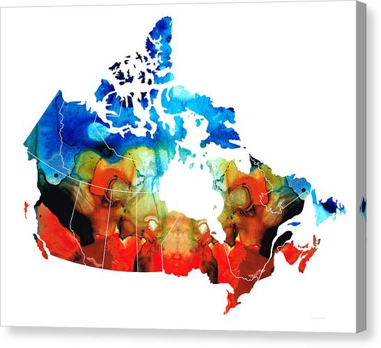 Edmonton Oilers Canvas Print - Canada - Canadian Map By Sharon Cummings by Sharon Cummings