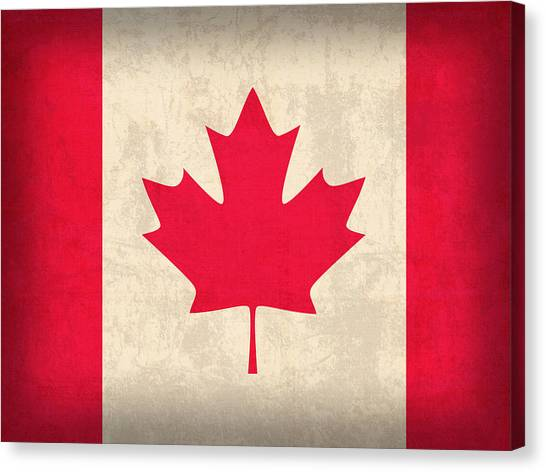 Distressed Canvas Print - Canada Flag Vintage Distressed Finish by Design Turnpike