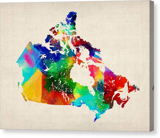Quebec Canvas Print - Canada Rolled Paint Map by Michael Tompsett