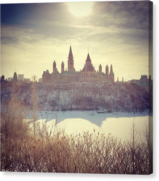Parliament Hill Canvas Print - Canadas Parliament Buildings In Winter by Danielle Donders