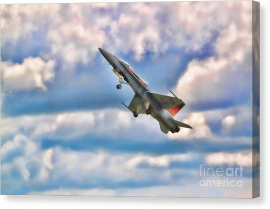 Canvas Print - Canadian Cf18 Hornet Taking Flight  by Cathy Beharriell