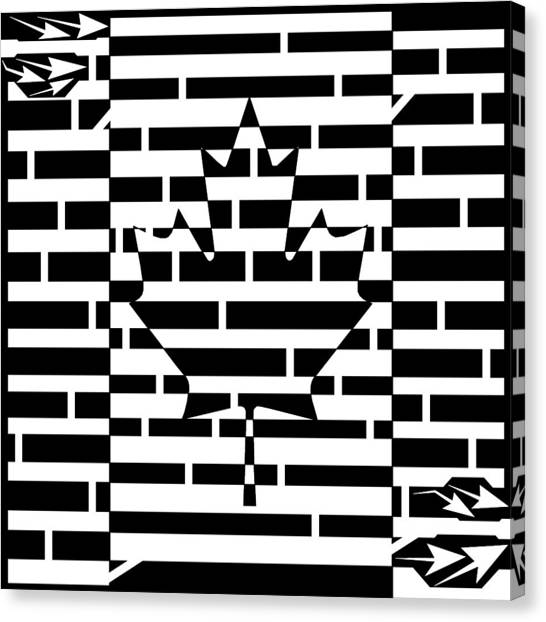 Canadian Flag Maze  Canvas Print by Yonatan Frimer Maze Artist