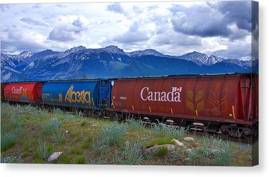 Freight Trains Canvas Print - Canadian Freight Train In Jasper #2 by Stuart Litoff