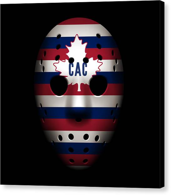 Montreal Canadiens Canvas Print - Canadiens Goalie Mask by Joe Hamilton
