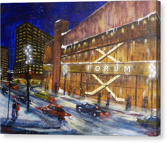 Montreal Canadiens Canvas Print - Canadiens Hockey At Montreal Forum by Brent Arlitt