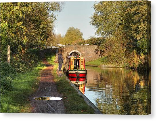 Canal Boat At Compton Lock Canvas Print