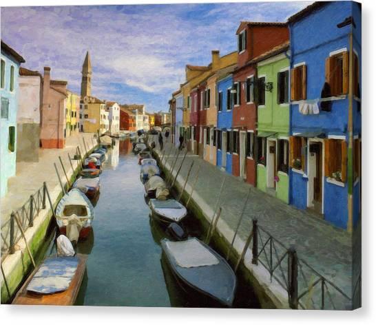 Canal Burano  Venice Italy  Canvas Print