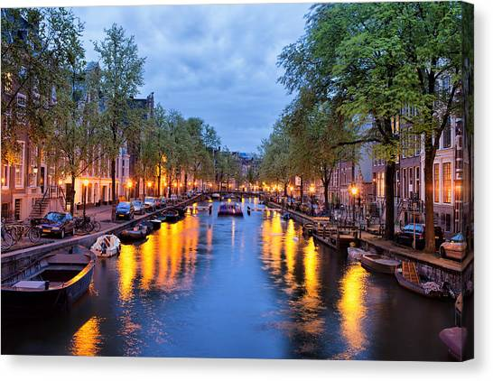 Canal In Amsterdam At Dusk Canvas Print