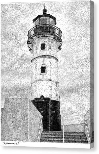 Canal Park Lighthouse Canvas Print by Rob Christensen