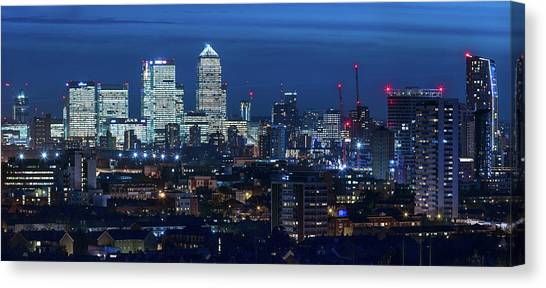 Canary Wharf And Stratford Canvas Print by Kenny Mccartney