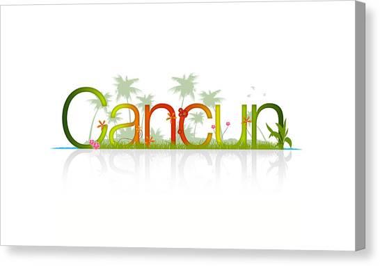 Tropical Beach Canvas Print - Cancun Mexico by Aged Pixel