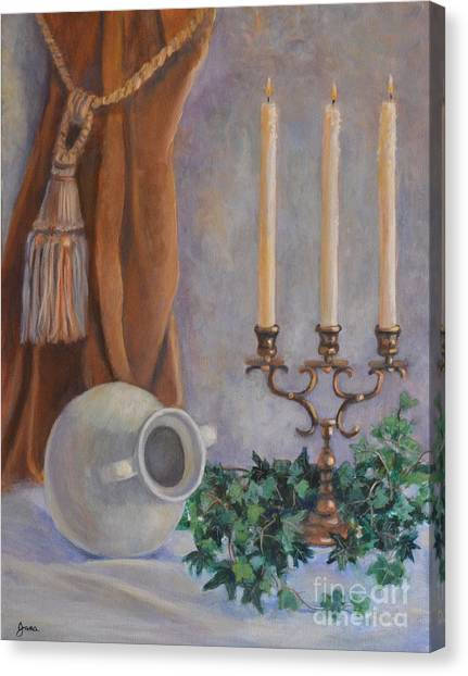 Candelabra With White Vase Canvas Print by Jana Baker