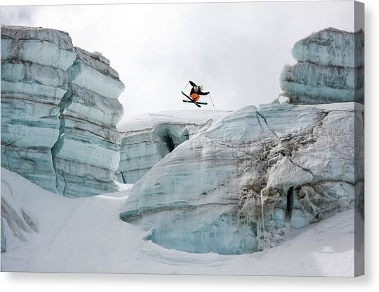 Spin Canvas Print - Candide Thovex Out Of Nowhere Into Nowhere by Tristan Shu