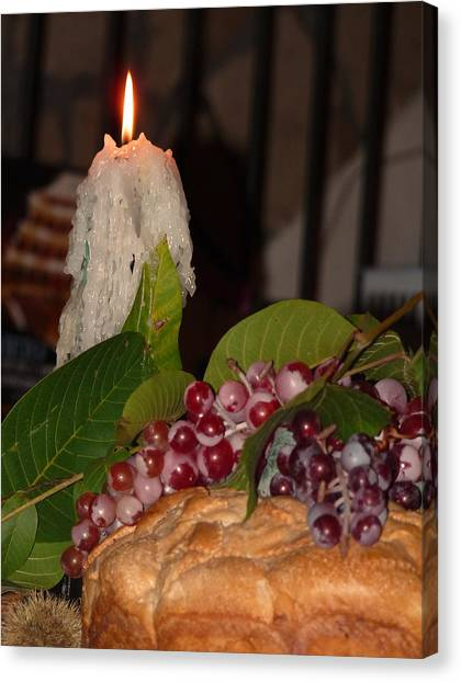Candle And Grapes Canvas Print