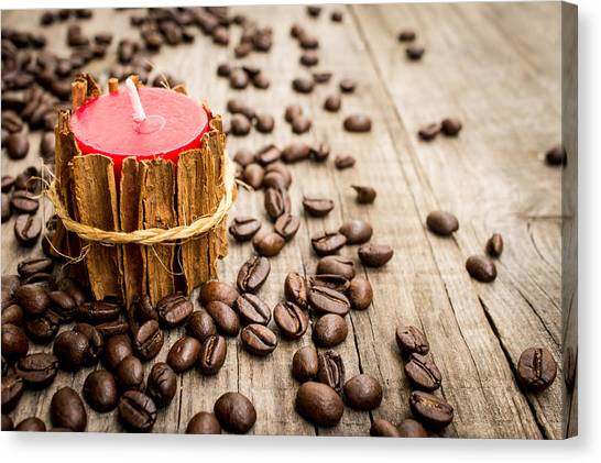 Coffee Beans Canvas Print - Candle Wrapped In Cinnamon  by Aged Pixel