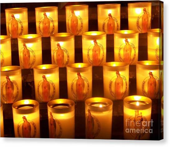 Candlelights - Bougies Notre Dame De Paris - Paris - France Canvas Print by Francoise Leandre