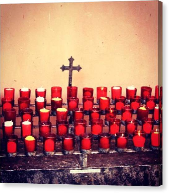 Red Cross Canvas Print - #candles by Kelly Hasenoehrl