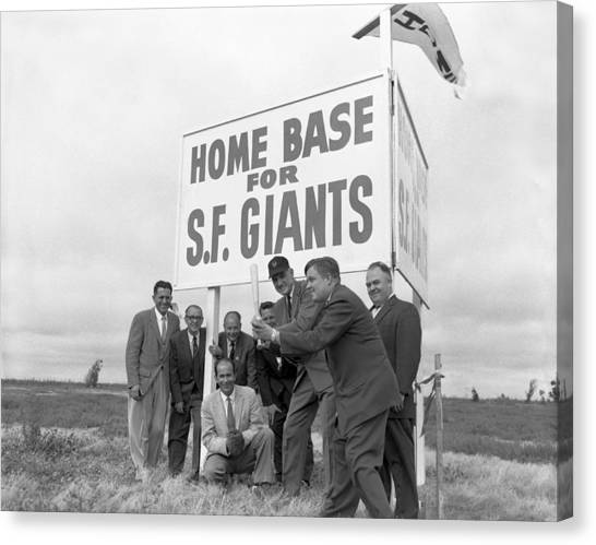 San Francisco Giants Canvas Print - Candlestick Park Home by Underwood Archives