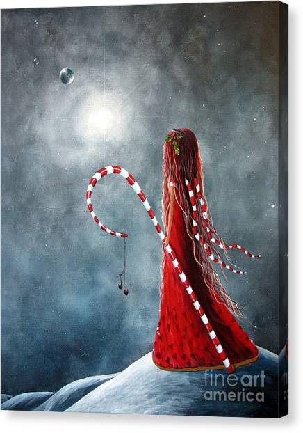Candy Cane Fairy By Shawna Erback Canvas Print by Erback Art