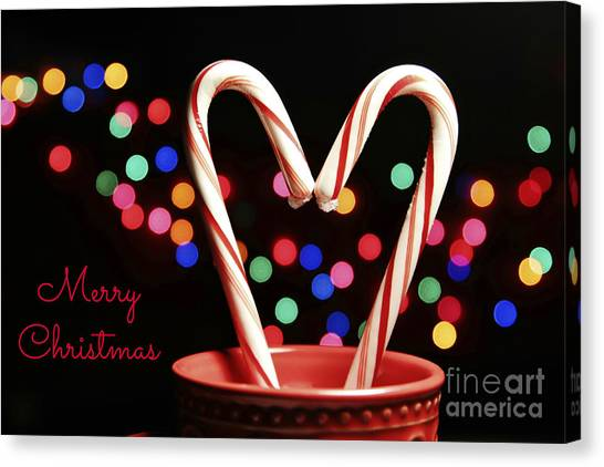Candy Cane Heart Card Canvas Print