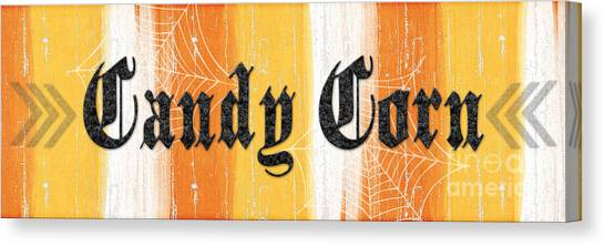 Corn Canvas Print - Candy Corn Sign by Linda Woods
