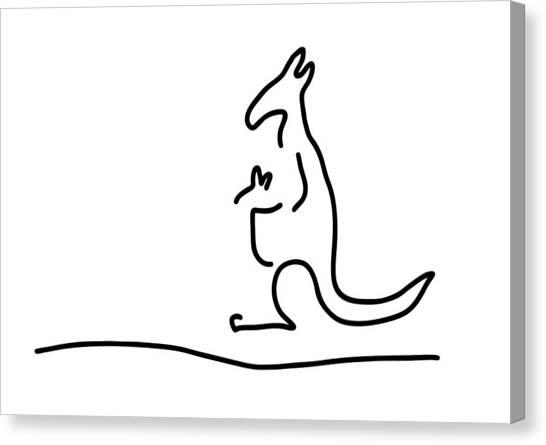 Kangaroo Canvas Print - Cangarooh Kaenguru Bag Baby by Lineamentum