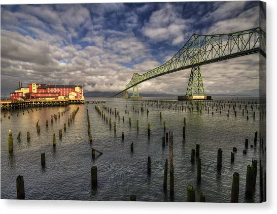 Cannery Pier Hotel And Astoria Bridge Canvas Print