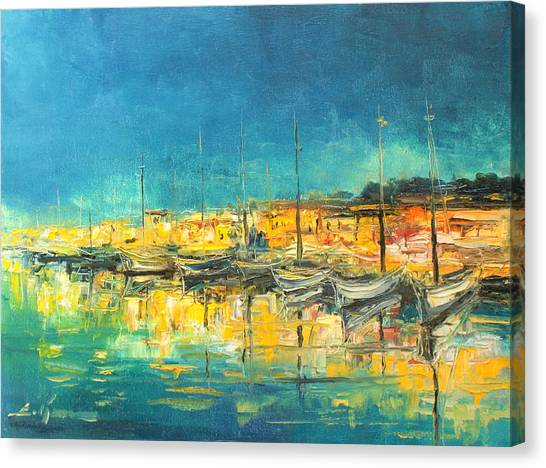 Cannes By Night Canvas Print