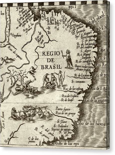 Amazon Rainforest Canvas Print - Cannibal Legends In Brazil by Library Of Congress, Geography And Map Division