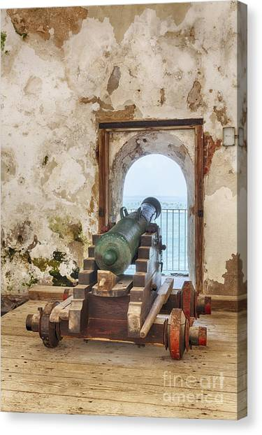 Canvas Print featuring the photograph Cannon At Fort San Felipe Del Morro by Bryan Mullennix