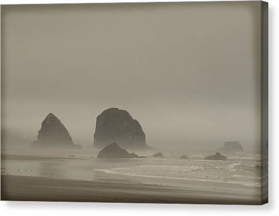 Cannon Beach In A Fog Oregon Canvas Print