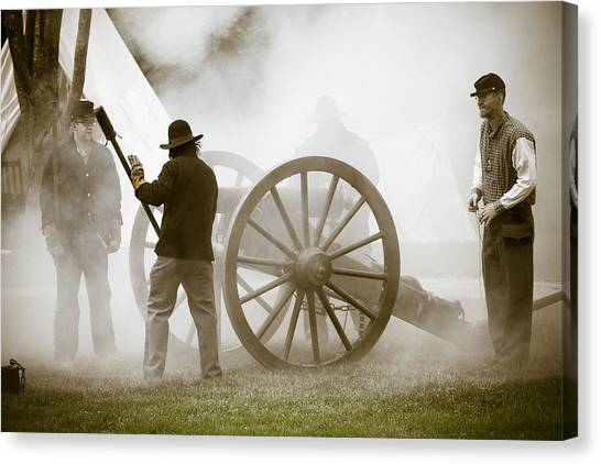 Fire Ball Canvas Print - Cannon Fire At Plattsburg by Steven Bateson