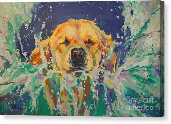 Golden Retrievers Canvas Print - Cannonball by Kimberly Santini